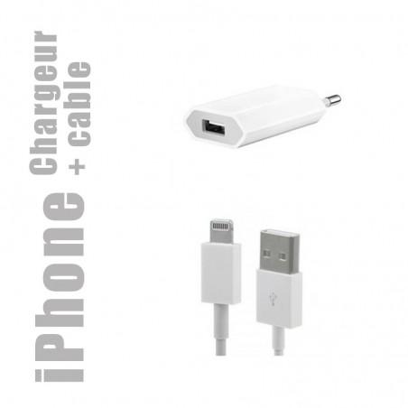 Chargeur secteur + câble lightning (charge et synchronisation) pour iphone et ipad
