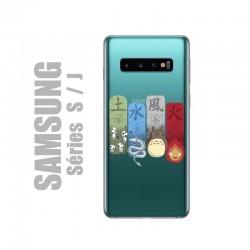 Coque de protection pour smartphones Samsung en gel silicone souple et au motif personnages Ghibli, les 4 éléments