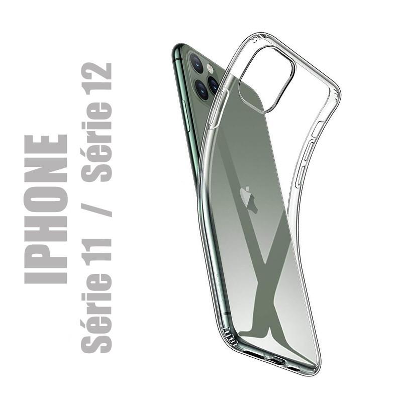 Coque de protection en gel silicone transparent pour iPhone 11 et iPhone 12