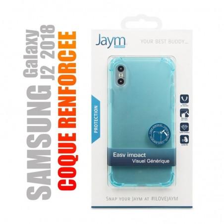 Coque de protection renforcée en gel silicone bleu transparent pour Samsung galaxy J2 2018
