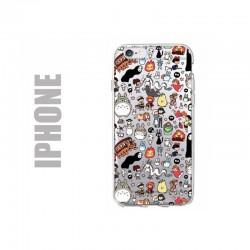 Coque de protection pour smartphones Apple iPhone en gel silicone souple et à l'effigie des personnages du studio Ghibli