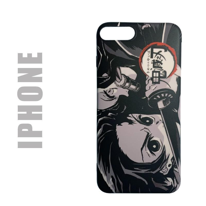 "Coque manga souple pour iphone, motif Demon Slayer ""Black and white"""