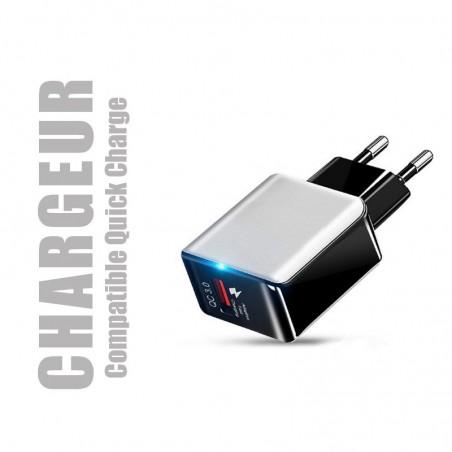 Chargeur secteur compatible Quick Charge pour smartphones et tablettes (vendu seul)