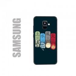 Coque de protection noire pour smartphones Samsung en gel silicone souple et au motif personnages Ghibli, les 4 éléments