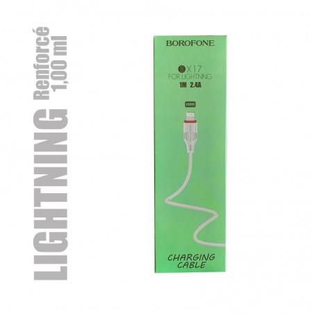 Cable pour iphone et ipad renforcé pour chargement et transfert de données. USB A vers Lightning longueur 1,00 m.