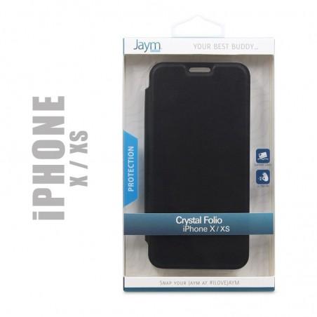 Etui de protection Crystal folio compatible avec iPhone X et Xs