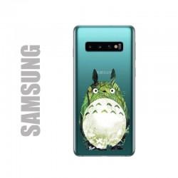 Coque de protection pour smartphones Samsung en gel silicone souple et au motif Totoro forêt