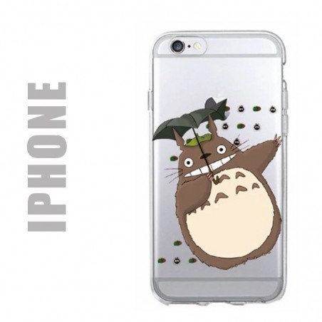 Coque de protection en gel silicone souple pour iPhone - Motif Totoro et boules de suie
