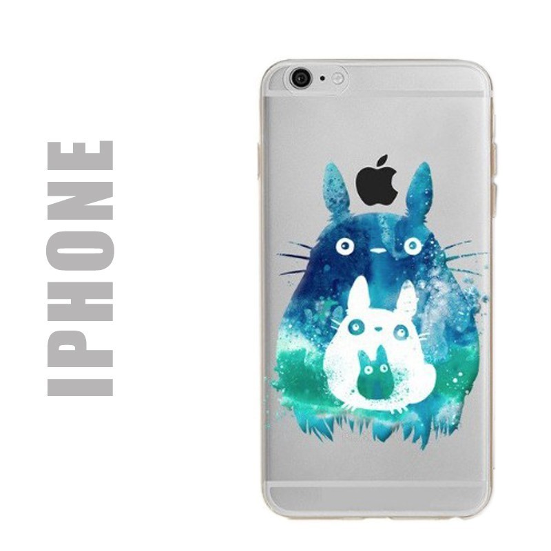 Coque de protection en gel silicone souple pour iPhone - Motif Totoro Splash