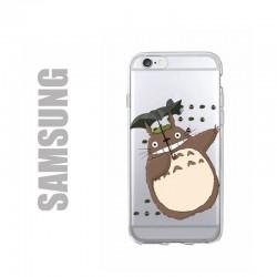 Coque de protection pour smatphones Samsung en gel silicone souple et au motif Totoro et boules de suie